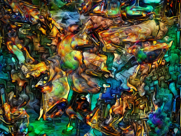 They Always Say It Tastes Like Chicken - an abstract surreal digital art painting .